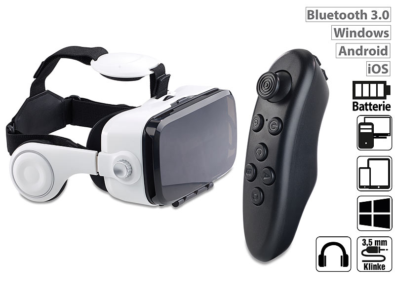 auvisio virtual reality brille mit headset bluetooth. Black Bedroom Furniture Sets. Home Design Ideas